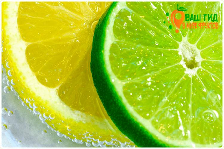 дольки лимона и лайма